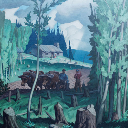 A.J. Casson A Typical Pioneer Homestead in Eastern Canada Painting