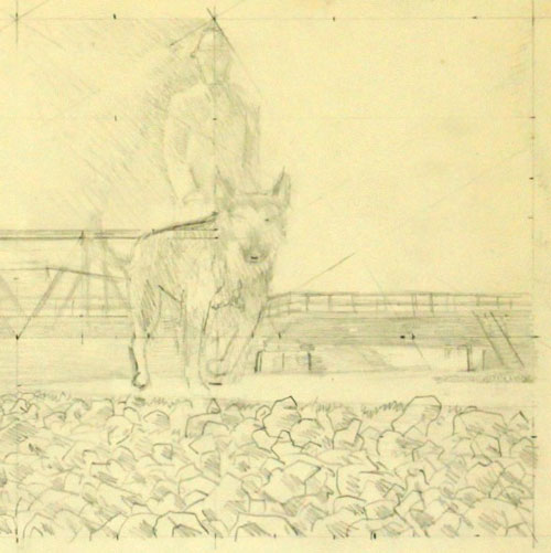 Alex Colville Dog, Man and Bridge Sketch