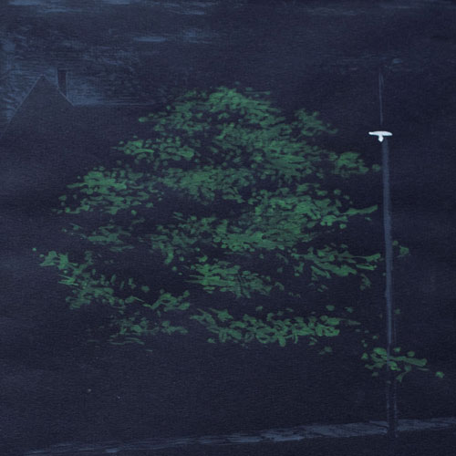 Alex Colville Streetlight and Tree Painting