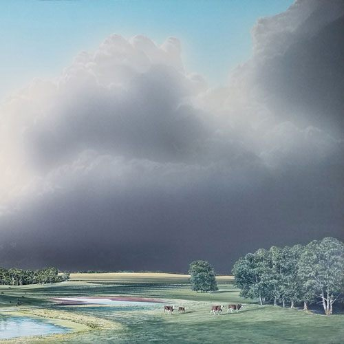 W.H. Webb Parkland Cattle and Storm painting
