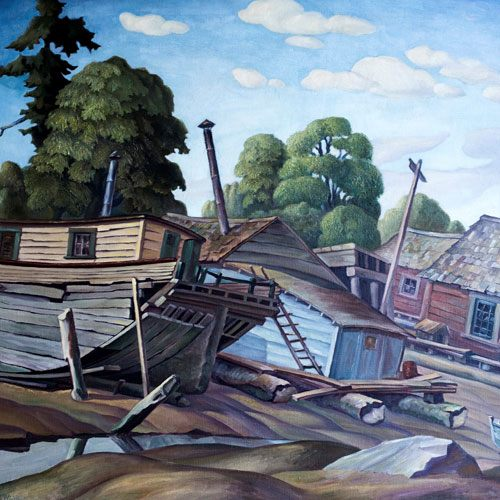 W.P. Weston Flotsam House Boats in Victoria Harbour Painting